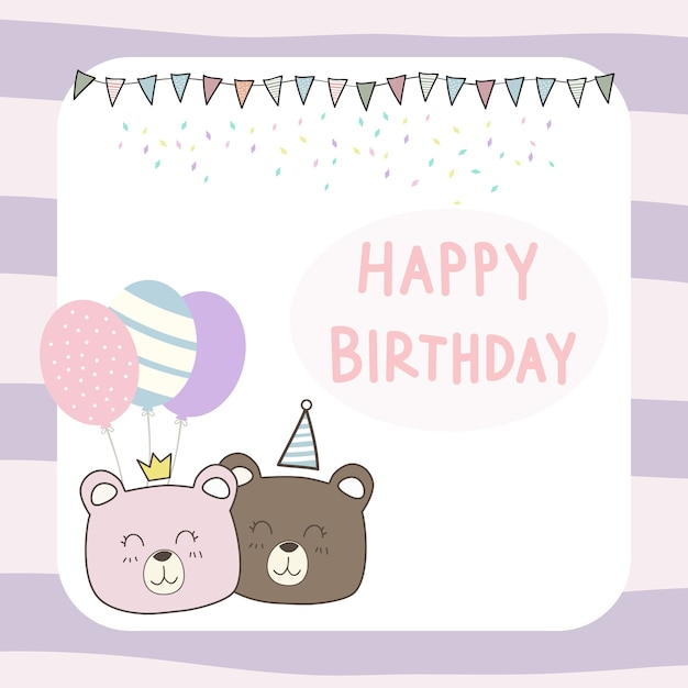 Cute Teddy Bear Cartoon Doodle Happy Birthday Card Wallpaper Vector