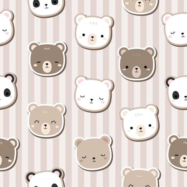 Cute teddy bear cartoon doodle seamless pattern stripe Premium Vector