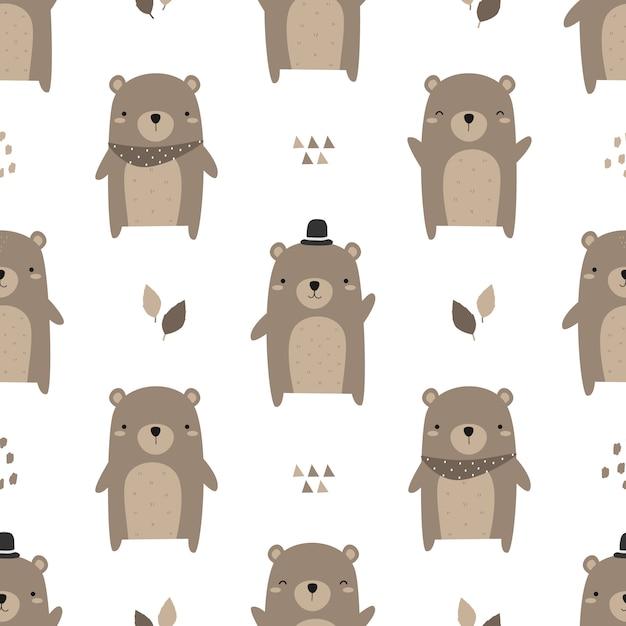 Cute teddy bear cartoon doodle seamless pattern Premium Vector