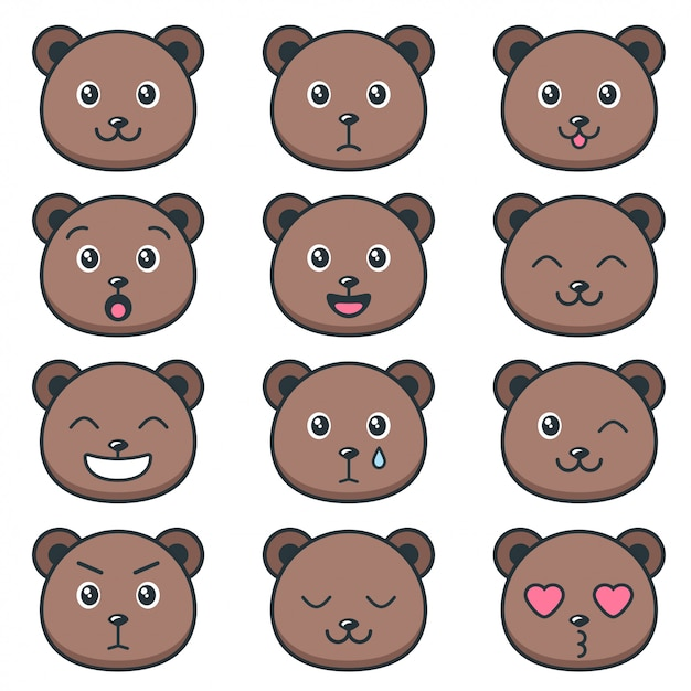 Cute teddy bear faces with different emotions Premium Vector