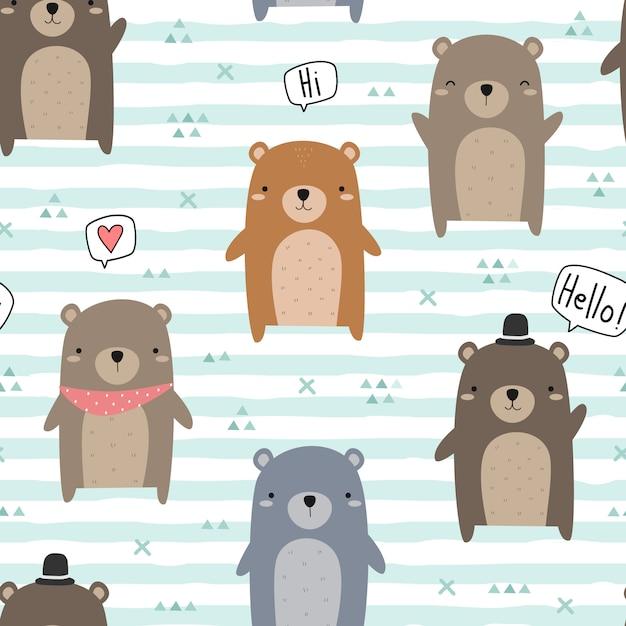 Cute teddy bear greeting cartoon doodle seamless pattern Premium Vector