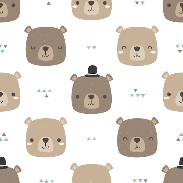 Cute teddy bear head cartoon doodle seamless pattern Premium Vector