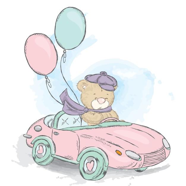 Милый плюшевый мишка в кабриолете. Premium векторы