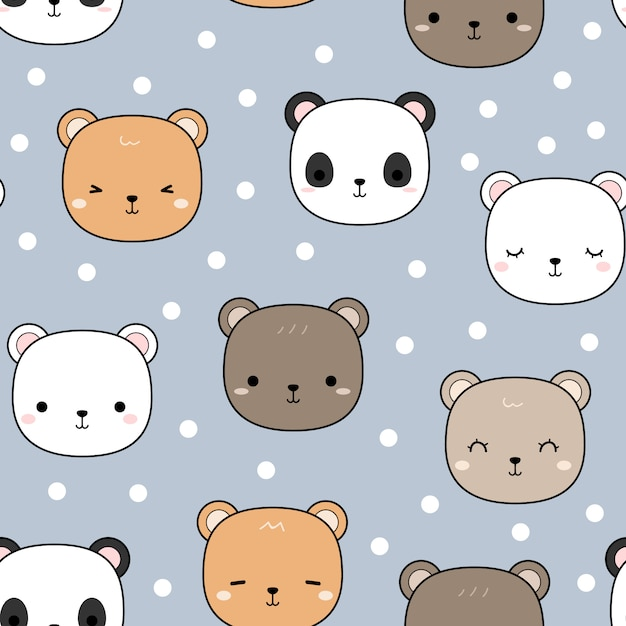 Cute teddy bear panda cartoon seamless pattern Premium Vector