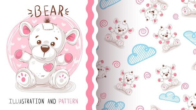 Cute teddy bear - seamless pattern Premium Vector