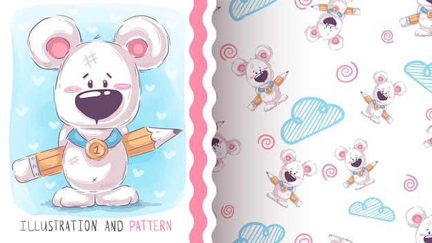 Cute teddy bear - seamless pattern Premium Vector