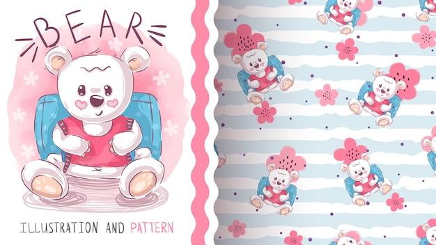 Cute teddy bear seamless pattern Premium Vector