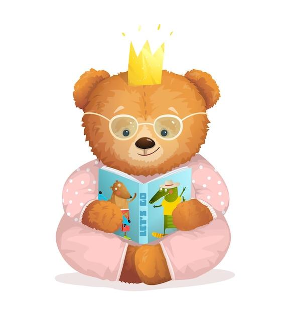 王冠を身に着けている本の物語を読んで座っているかわいいテディベア。 Premiumベクター