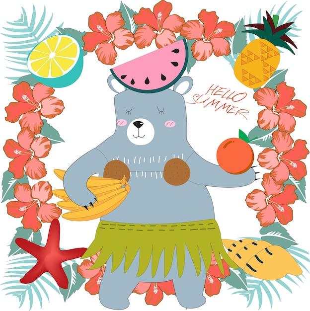 Cute teddy bear in summer sunny day cartoon Premium Vector