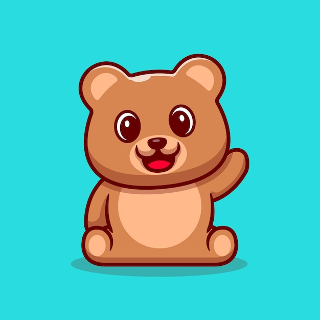 Cute teddy bear waving hand cartoon icon illustration. Free Vector