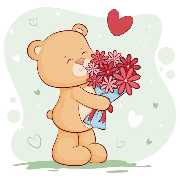 꽃 발렌타인 데이와 귀여운 테 디 베어 프리미엄 벡터