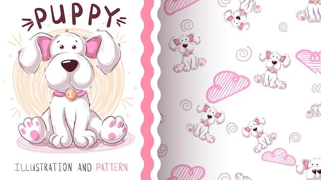 Cute teddy dog - seamless pattern Premium Vector