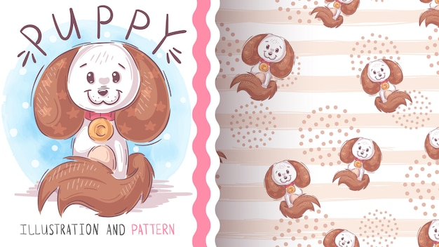 Cute teddy dog seamless pattern Premium Vector