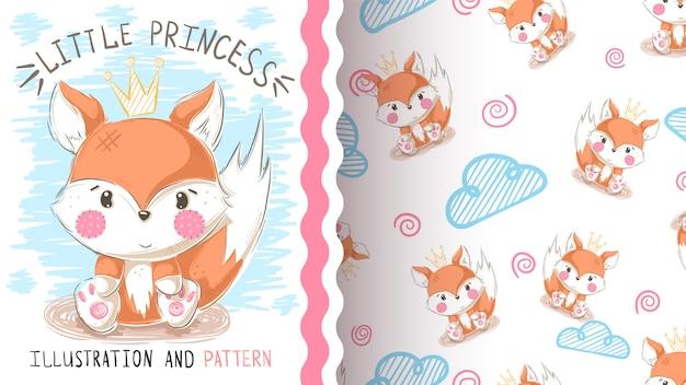 Cute teddy fox seamless pattern Premium Vector