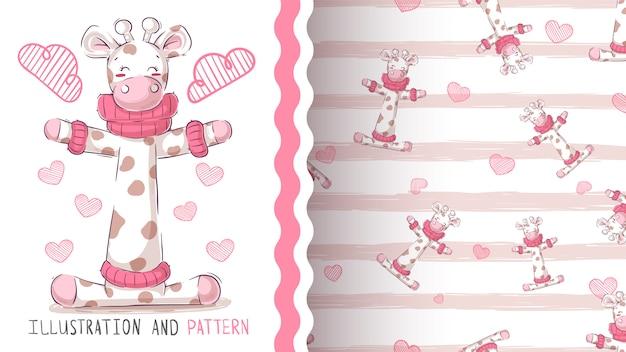 Cute teddy giraffe seamless pattern Premium Vector