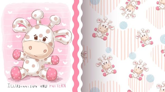 Cute teddy giraffe, seamless pattern Premium Vector
