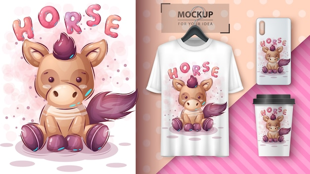 Cute teddy horse poster and merchandising. Free Vector