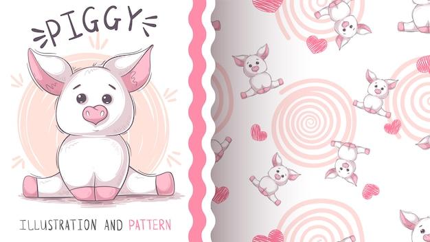 Cute teddy pig - seamless pattern Premium Vector