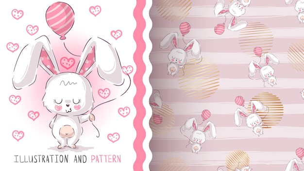 Cute teddy rabbit seamless pattern Premium Vector