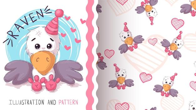 Cute teddy raven - seamless pattern Premium Vector