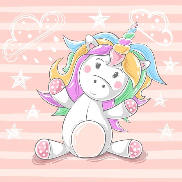 Cute teddy unicorn - cartoon characters. hand draw Premium Vector