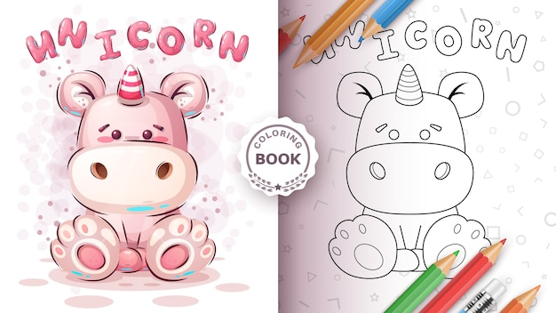 Cute teddy unicorn - coloring page Free Vector