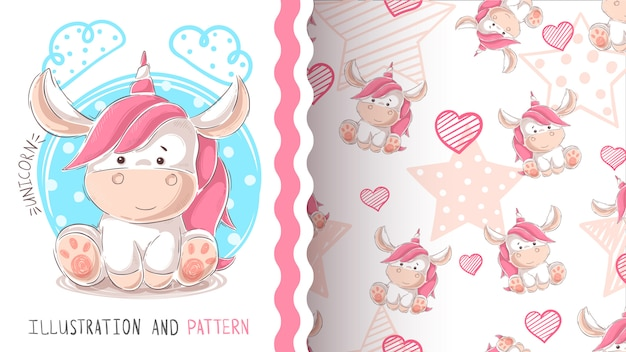 Cute teddy unicorn - seamless pattern Premium Vector