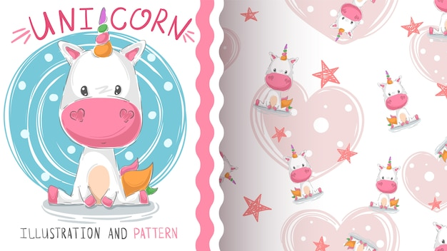 Cute teddy unicorn - seamless pattern Premium Vector