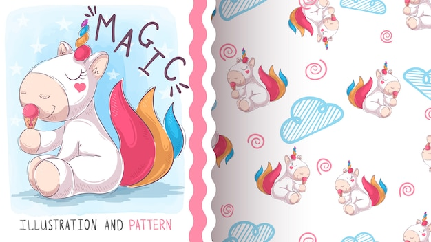 Cute teddy unicorn, seamless pattern Premium Vector