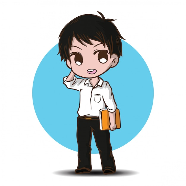 Cute teen student character vector. back to school content. Premium Vector