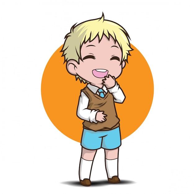 Cute teen student character vector Premium Vector