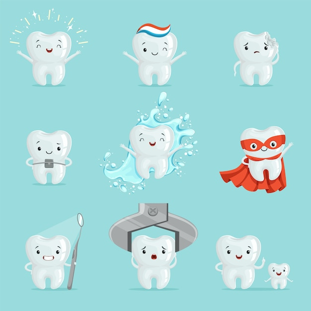 Cute teeth with different emotions set for  . cartoon detailed illustrations Premium Vector