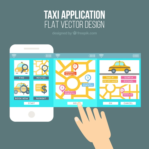 cute template for a mobile application of the taxi company vector