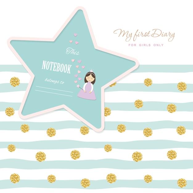 Cute template notebook cover for girls. glitter polka dot Premium Vector