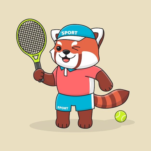 Cute tennis red panda with hat Premium Vector