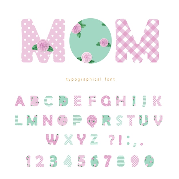 Cute textile font in pastel pink and blue Premium Vector