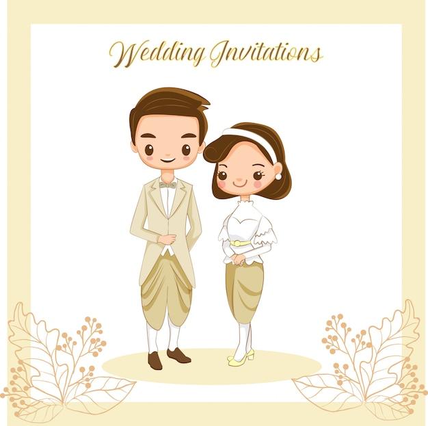 Cute thai bride and groom for wedding invitations card Premium Vector