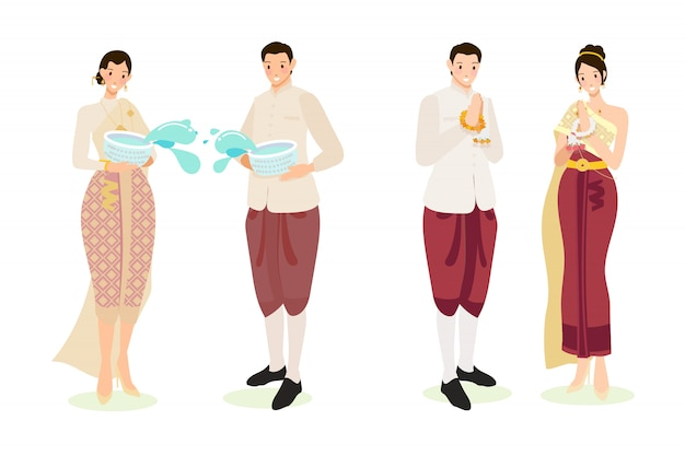 Cute thai couple in traditional dress for songkran new year festival Premium Vector