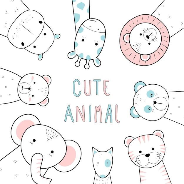 Cute thin line animals cartoon doodle pastel Premium Vector