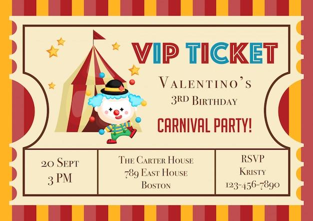 Cute Ticket Carnival Theme Birthday Invitation Vector