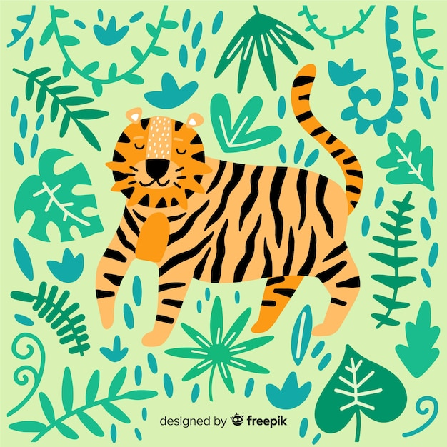 Cute tiger background Free Vector