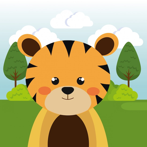 Cute tiger in the field character Free Vector