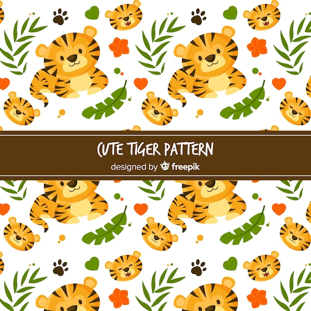 Cute tiger pattern Free Vector