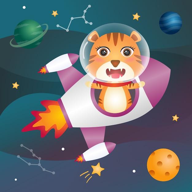 Cute tiger in the space galaxy Premium Vector