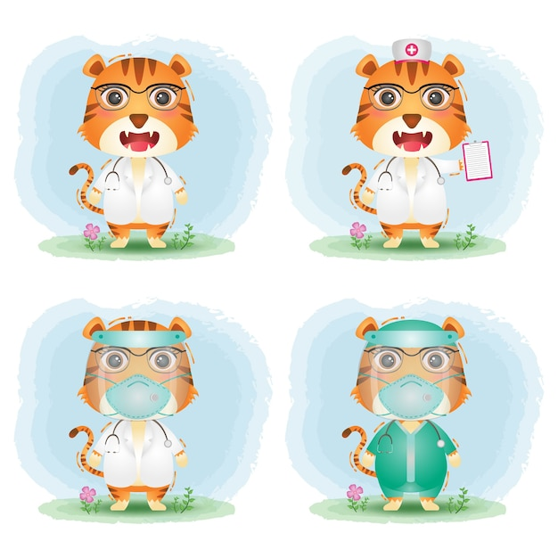 Cute tiger with medical staff team doctor and nurse costume collection Premium Vector