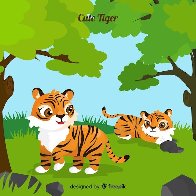Cute tiger Free Vector