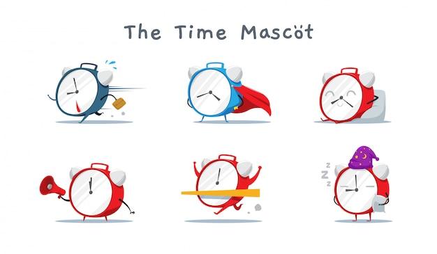 Набор cute time mascot. векторная иллюстрация Premium векторы