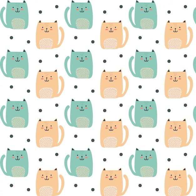 Cute tiny cat pattern Premium Vector