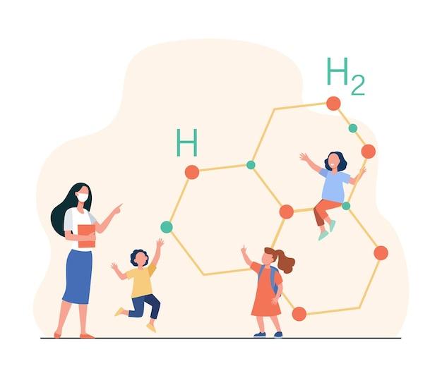 선생님과 함께 화학을 배우는 귀여운 작은 아이들. 만화 그림 무료 벡터