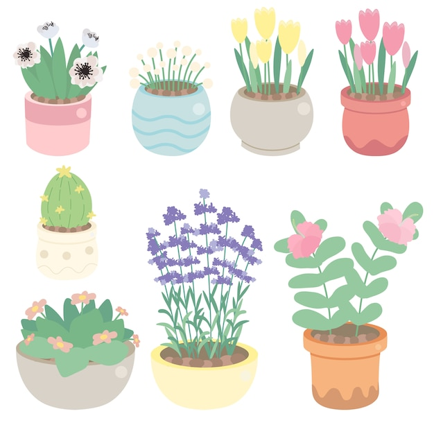 Premium Vector Cute Tiny Flower In Pot Collection